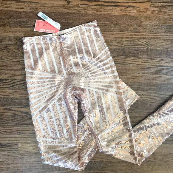425881da7630c Gianni Bini Pants | Nwt Rose Gold Roxanne Sequins Leggings | Poshmark